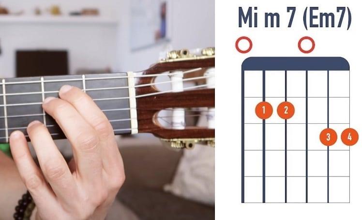 Accord de Mi mineur7 version 2 à la guitare débutant - La Guitare en 3 Jours